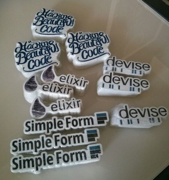 Devise, Simple Form, Elixir, Hacking Beautiful Code stickers