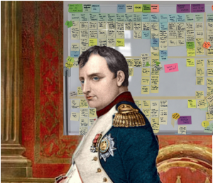 napoleão com quadro de kanban ao fundo